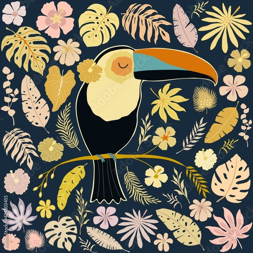Fototapeta premium Decorative pattern with toucan bird and tropical leaves and flowers