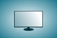 Blank Screen Of Widescreen Smart Tv (television) With Tv Stand On Blue Background. 3d Illustration, Vector.