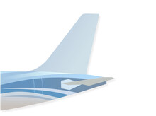The Tail Of The Airplane Such As Vertical Stabilizer, Horizontal Stabilizer, And Empennage. Blue Tone Color Fuselage Patterns. Airplane With White Background.