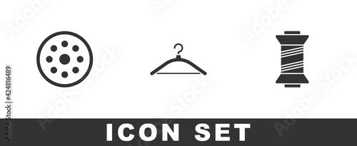 Fotografie, Obraz Set Sewing button, Hanger wardrobe and thread icon. Vector