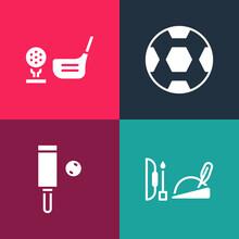 Set Pop Art Robin Hood Hat, Wood Cricket Bat And Ball, Football And Golf Club With On Tee Icon. Vector
