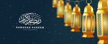 Islamic Ramadan Kareem Brochure Or Background Design Template Illustration With 3d Realistic Golden Lantern Lined Up Neatly