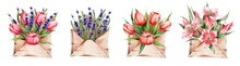 Set Of Watercolor Envelopes With Spring Flowers. Lavender, Lilies, Tulips In Envelopes. Suitable For Stickers, Postcards, Etc.