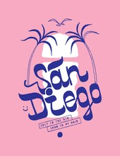 San Diego Sunset And Palms T-shirt Print With Vintage Typography And A Bird Flying Surfing Style Vector Illustration.
