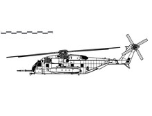Sikorsky CH-53E Super Stallion. Vector Drawing Of Heavy-lift Helicopter. Side View. Image For Illustration And Infographics.