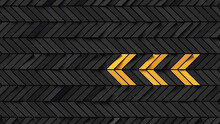 Abstract Black Rectangular Background With Yellow Fields Showing Arrow; Dark Pattern With Chevron Arrow Graphic; Minimal Cubical Backdrop; Simple Geometric Mesh; 3d Rendering, 3d Illustration