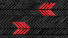 Abstract Black Rectangles Background With Red Stripes Forming Left And Right Arrows; Diagonal Dark Chevron Pattern; Minimal Cubical Backdrop; Top View; 3d Rendering, 3d Illustration