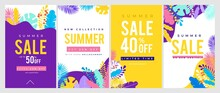 Summer Sale Banner Set With Tropical Leaves. Colorful Design Templates