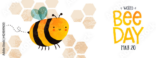 Foto World Bee Day cute bumblebee cartoon banner