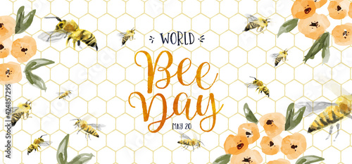 Fotografering World Bee Day watercolor flower bees banner