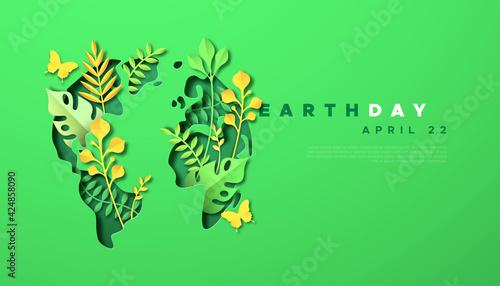 Obraz Earth day green paper cut leaf world map template - fototapety do salonu