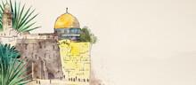 Jerusalem. Watercolor Background