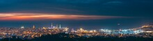 Batumi, Adjara, Georgia. Panorama, Aerial View Of Urban Cityscape At Sunset. Town At Evening Blue Hour Time. City And Port In Night Lights Illuminations