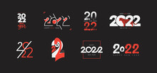 Big Collection Of 2022 Happy New Year Logo Design. 2022 Number Design Template. Set Of 2022 Happy New Year Text Symbols. Vector Illustration With Black And Red Labels Isolated On Black Background.
