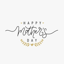 Happy Mother's Day Greeting Card. Black Calligraphy Inscription With Gold Hearts. Freehand Drawing. Modern Vector Illustration. Isolated On White Background.