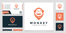 Creative Logo Monkey Location With A Business Card