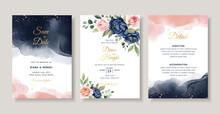 Navy Peach Floral Watercolor Wedding Invitation Card
