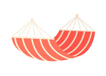 Hammock On A White Background. Tool For Summer Holidays, Relaxation, Swing, Sleep, Rest. Vector Illustration In Cartoon Style.
