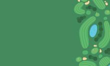 空から見たゴルフコースのイラスト。コピースペースがある背景素材。