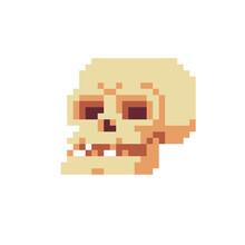 Prehistoric Human Skull. Isolated Pixel Art Vector Illustration. Design For Logo And Mobile App. 8-bit Sprite.