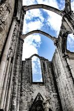 Arcades, Pillars And Facade Of Do Carmo Convent In Lisbon