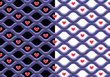 Geometrical Grid Seamless Pattern, Blue Sea Waves Lines, Red Heart Shapes. Black, White Background Is Easy To Change