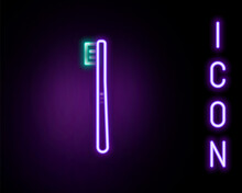 Glowing Neon Line Toothbrush Icon Isolated On Black Background. Colorful Outline Concept. Vector