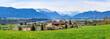 canvas print picture - Ausblick auf das Murnauer Moos und die schneebedeckten Berge des Zugspitz-Massivs