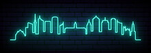 Blue Neon Skyline Of Auckland. Bright Auckland City Long Banner. Vector Illustration.