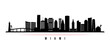 Miami skyline horizontal banner. Black and white silhouette of Miami, Florida. Vector template for your design.