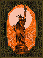 Liberty Statue With Vintage Ornament