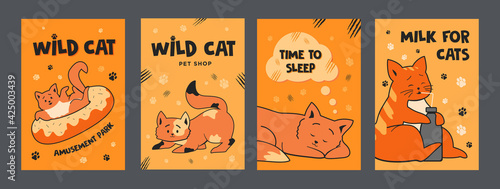Photo Orange posters design with cute cats