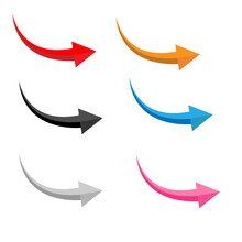 Set Of Glossy Arrows On White Background. Flat Style. Arrow Sign. Abstract Bright Arrows Symbol.