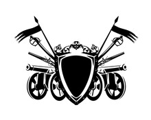 Antique Cannon Gun And Sabre Sword By Heraldic Shield Decorated With Flags And Rose Flowers - Armoury Coat Of Arms Black And White Vector Outline Design