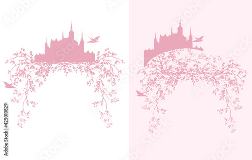 blooming spring season tree branches, fairy tale princess castle and flying swallow birds vector silhouette design set