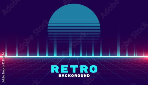 Fototapeta retro cyber futuristic neon style game background obraz