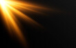 Vector golden light. Sun, sun rays, dawn, star, flare png. Golden Star. Golden flash png. Vector image.