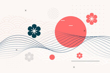 Japanese Style Background With Flower And Wave Lines