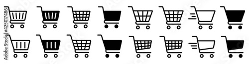 Photo Shopping cart icon set, Full and empty shopping cart symbol, shop and sale, ve