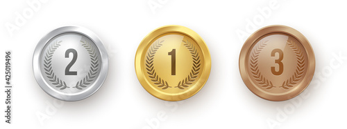 Gold, silver, bronze medal set. Champion trophy awards with numbers and laurel vector illustration. Prize in sport for winning first, second, third place in competition on white background
