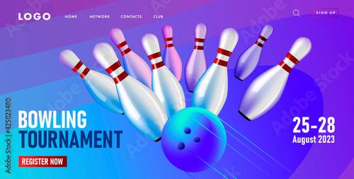 Web page banner with tournament event, bowling club competition, falling bowling Tapéta, Fotótapéta