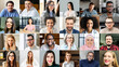 canvas print picture Crowded video screen with diverse multinational people on it. Video meeting online for office employees working remotely. Multiracial colleagues involved in online conference, video call. Hr data base