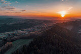 Wiosna,góry, zachód słońca z lotu ptaka
