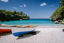 Playa Lagun Beach Cliff Curacao, Lagun Beach Curacao A Small Island In The Caribbean. White Tropical Beach