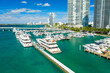 canvas print picture - aerial drone view of Miami Beach marina in South Point