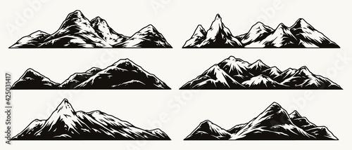 Fotografía Mountains vintage monochrome collection