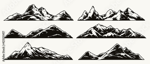 Obraz Mountains vintage monochrome collection - fototapety do salonu