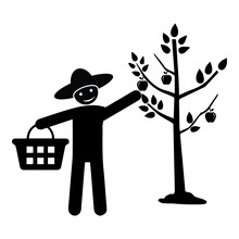 Fruit, Collect, Two Man, Basket Icon. Element Of Volunteer Pictogram Icon