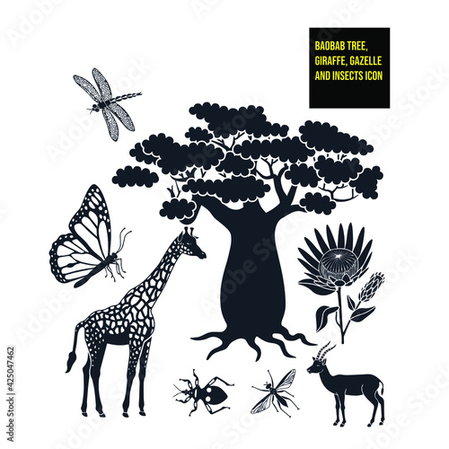 Valokuva Vector icons with an African animal theme with a baobab tree, giraffe, gazelle, protea flower, dragonfly, monarch butterfly, assassin bug, and a tse tse fly