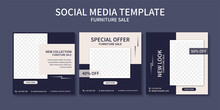 Set Of  Premium Furniture Sale Promo Social Media Post Template Collection. Best For Business Online Promotion. Social Web Advertising